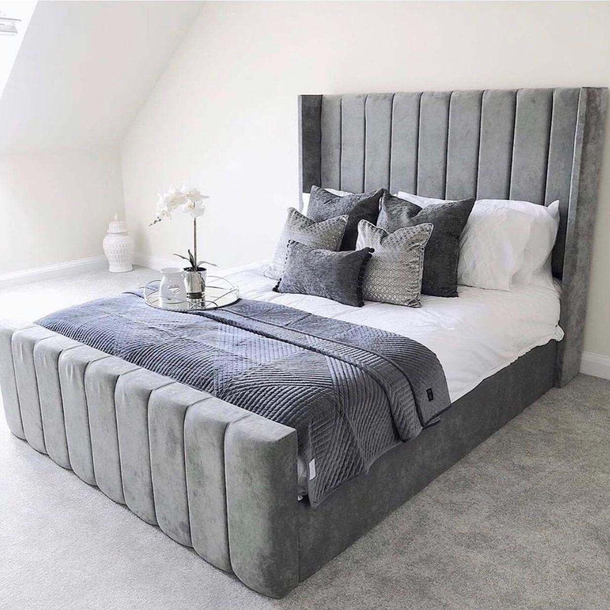Lined Wingback Bed Plush Velvet Oxford Beds Wingback Beds Majestic Beds Yorkshire Beds Majestic Special Mattresses